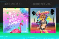 80's Synthwave Square Artpack  Template by dennybusyet on @creativemarket