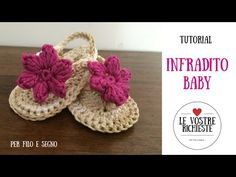Tutorial - Infradito Baby - YouTube Crochet Baby Sandals, Baby Girl Crochet, Crochet Shoes, Crochet Baby Booties, Crochet Slippers, Crochet For Kids, Knit Crochet, Crochet Videos, Baby Knitting