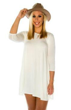 Mittoshop Strict Stitch 3/4 Sleeve Solid Pocket Knit Dress