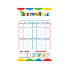 The Kids Calendar is reusable, brightly printed, and coated with laminate. Let your kids create their own calendar each month! Bright Color Schemes, Routine Chart, Kids Calendar, Dry Erase Markers, 4 Kids, Kids Learning, Dates, Prints