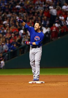 Ben Zobrist of the Chicago Cubs reacts to hitting the go ahead RBI single in the inning during Game 7 of the 2016 World Series against the. Chicago Cubs Baseball, Baseball Field, Cubs Pictures, World Series 2016, Ben Zobrist, Chicago Cubs World Series, Best Baseball Player, Cubs Win, Famous Sports