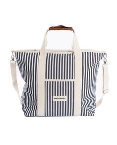 - Accessories - Beach Tent, Beach Umbrella, Leather Handle, Real Leather, Picnic Essentials, Mini Cooler, Vintage Canvas, Navy Stripes, Diaper Bag