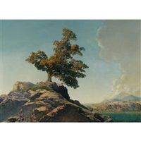 Tree on a rock by Maxfield Parrish