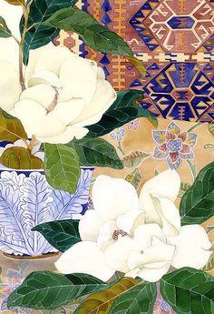 Magnolia Grandiflora and carpet  Watercolour and pencil on paper  39cm x 57cm Sydney 2011- Gabby Malpas