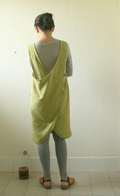 LINEN PINAFORE DRESS / women / mustard / smock / linen dress /