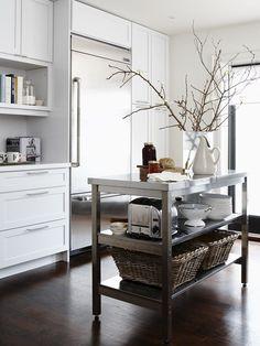 industrial cart island/ white kitchen