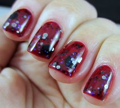 Nail Pattern Boldness - Hades over Sinful Colors - Ruby Ruby