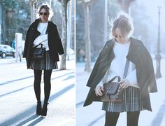 MAROLA  Street style outfit with skirt, jumper and heels by fashion blogger Monica Sors