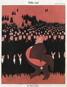 O. Gulbrandsen, 'Enfin seul', in 'Simplicissimus' (Duitsland, 5 september 1916) Vertaling titel: 'Eindelijk alleen'. Onderschrift: 'Der Hahn im Korbe', vertaling: 'De haan in het hok'.