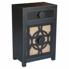 Teak wood nightstand with 1 drawer and a storage cupboard behind a lattice-detailed door.