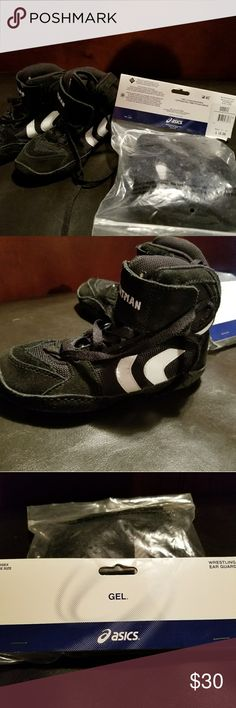 Boys wrestling shoes and head gear new Size 12 youth wrestling shoes brand new along with one size head gear. Other