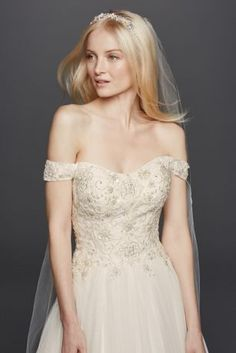 Long bridesmaid dress with lace bodice style f19328 lace for Wedding dress with swag sleeves
