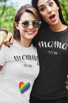 Pregnancy Announcement Photos, Pregnancy Photos, Birth Announcements, Lesbian Moms, Lesbian Art, Baby Event, Maternity Poses, Heart Shirt, Rainbow Heart