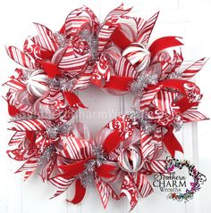Deco Mesh Christmas Wreath Slim Screen Door or Wall Red White Silver Holiday Decor by www.southerncharmwreaths.com