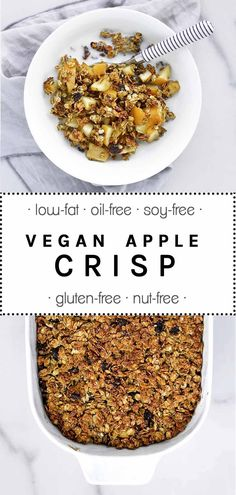 A low-fat and vegan version of the traditional Apple Crisp - free of added oils but just as sweet and delicious. #applecrisp #vegan #apple #crisp #lowfat #glutenfree #soyfree #oilfree #nutfree | thebrightbird.com