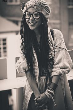 Only the coolest kids had flip-up glasses//* in the 90s, 90s fashion, retro style, braids and thangs, black and white photo