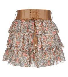 Petite Blue Floral Ditsy Print Belted Skirt
