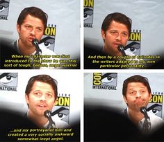 (gif set) Misha Collins about Castiel's Development An adorable deficient badass puppy if you ask my