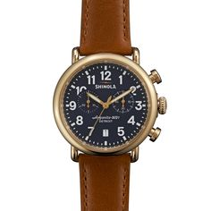 The Runwell Chrono, 41mm with premium leather strap and gold finish.