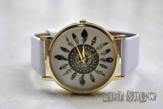 Dream Catcher Watch Vintage Style Leather Watch White by GiftShow, $4.50 Handmade leather watch, fashion leather bracelet