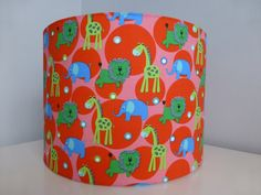 Red*Pink Zoo Animals *Lion*Elephant*Giraffe Child/Nursery Fabric Drum Lampshade - 30cm diameter