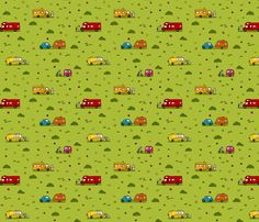Little RV on the Prairie by Krishna Chavda  Fabric Design Challenge One - Tiny Dwellings REPEAT Design #fabric #textiles #quilting_fabric #quilts   #textile_design #spoonflower