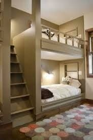 Love this idea for bunkbeds.seems more comfortable and safer. Plus looks better than standard bunkbeds Style At Home, Home Bedroom, Bedroom Decor, Bedroom Ideas, Extra Bedroom, Bedroom Loft, Girls Bedroom, Master Bedroom, Warm Bedroom