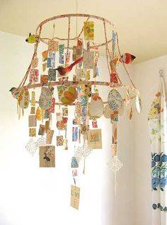 DIY Lampshade mobile~ I have 4 lampshades in the basement and now I know why I didn't throw them away