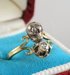 Free EU Ship Victorian Twin Skull Diamond Memento Mori Ring TO DIE | eBay