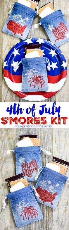 4th of July S'mores Kit - Create mini 4th of July s'mores kits for your patriotic party with denim treat bags and glitter heat transfer vinyl MichaelsMakers A Pumpkin And A Princess