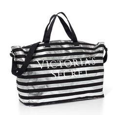 VS Weekender Bag New in package.  VS weekender bag.  Black and silver stripes. PINK Victoria's Secret Bags Travel Bags