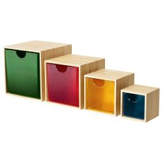 Jewellery storage for desk. IKEA PS 2012 Drawer, set of 4 IKEA These boxes are perfect for storing your desk accessories, hair clips, jewellery or other small items. Ikea Storage, Small Storage, Toy Storage, Storage Boxes, Storage Organizers, Toy Boxes, Extra Storage, Ikea Ps 2012, Ideas