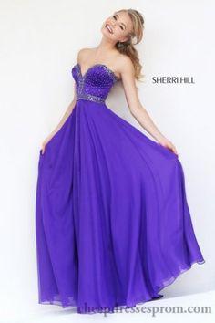 Purple 32071 Sherri Hill Long Plus Size Formal Dresses 2015