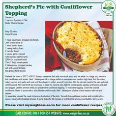 Healthy Food, Healthy Recipes, Slimming World, Kos, Weight Loss Tips, Cauliflower, South Africa, Lamb, Dinner Ideas
