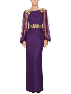 Sequined Tulle Balloon Sleeve Gown from Designer Eveningwear Feat. Marchesa Couture on Gilt