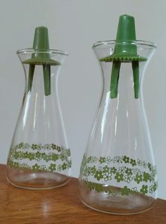 Vintage Pyrex Green Crazy Daisy Spring Blossom Salt and Pepper Shakers  #PYREX