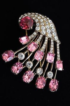 LOVELY ORIGINAL EISENBERG STERLING SILVER PINK RHINESTONE FUR CLIP IN BOX