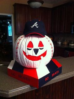 Atlanta Braves fan pumpkin