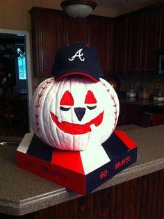 Atlanta Braves fan pumpkin