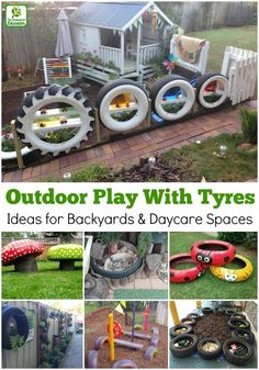 Easy Ideas for reusing tyres in outdoor play areas and backyards. A huge collection of ideas and inspiration for reusing tyres in outdoor play creatively & safely. Save money on outdoor play equipment by upcycling! Project & safety tips included for early Kids Outdoor Play, Outdoor Play Spaces, Kids Play Area, Backyard For Kids, Outdoor Fun, Backyard Projects, Childrens Play Area Garden, Eyfs Outdoor Area Ideas, Backyard Play Areas