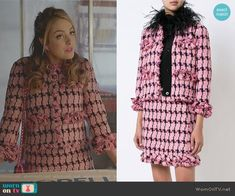 Fallon's pink tweed jacket and skirt on Dynasty. Outfit Details: https://wornontv.net/82814/ #Dynasty