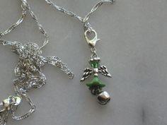 handmade green angel bell charm on silver chain necklace #Handmade