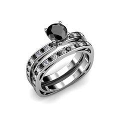 1.25cttw Natural White Round Diamond (VS2-SI1-Clarity,G-H... & Natural Treated Black Round Diamond Square...