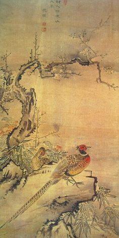 (Korea) 치희조춘 by Danwon Kim Hong-do (1745- 1806). color on silk. Gansong gallery, Korea.