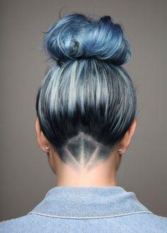 Detailed Undercut with Blue Hair . - Detailed Undercut with Blue Hair … Detailed Undercut with Blue Hair Denim Hair, Denim Jeans, Hot Hair Colors, Hair Colour, Pastel Hair, Bright Hair, Pastel Blue, Colorful Hair, Soft Hair