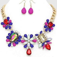 """HP Statement necklace - Bouquet Jewel Necklace • Color : Blue, Pink, Gold, AB, Multi, Brown, Vitrail • Theme : Flower & Leaf  • Necklace Size : 18"""" + 3"""" L • Earring Size : 1 1/2"""" L • Resin Enamel / Crystal  • Bouquet Jewel Necklace NYC Chic Accessories  Jewelry Necklaces"""