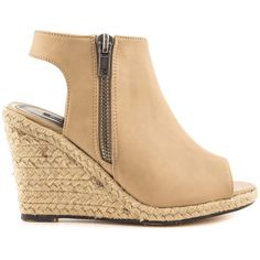 Michael Antonio Women's Genna - Natural PU ($60) ❤ liked on Polyvore featuring shoes, beige, peep toe wedge shoes, wedge espadrilles, polyurethane shoes, michael antonio footwear and beige shoes