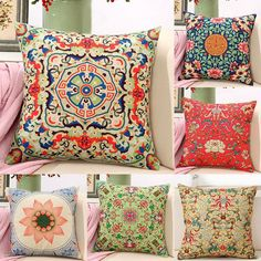 Home Aspiring Flower Floral Pillow Case Vintage Decorative Cushion Cover Boho Throw Pillows Cases Farmhouse Home Sofa Decor Cushions Covers