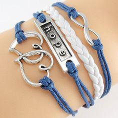 Anti-Silver Infinity Double Heart Hope Charm Leather Wrap European Bracelet