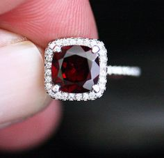 Red Garnet Engagement Ring Garnet Halo Ring in by Twoperidotbirds  -  ◆:::sigh::: my beautiful birthstone! :)◆